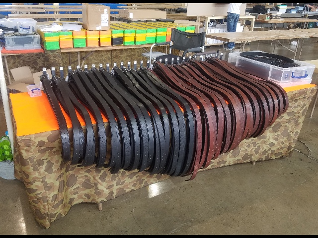 Strong Leather Gun Belts Display at a Gun Show